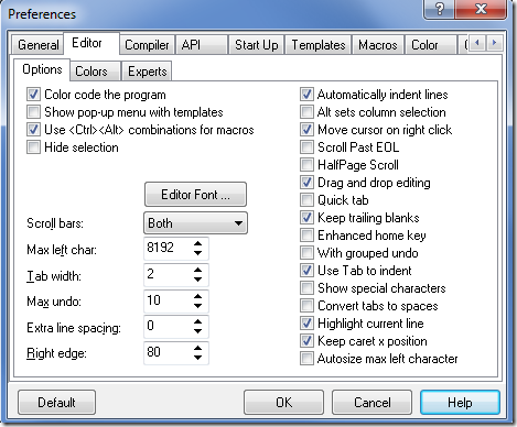 Bricx Preferences Editor seaded